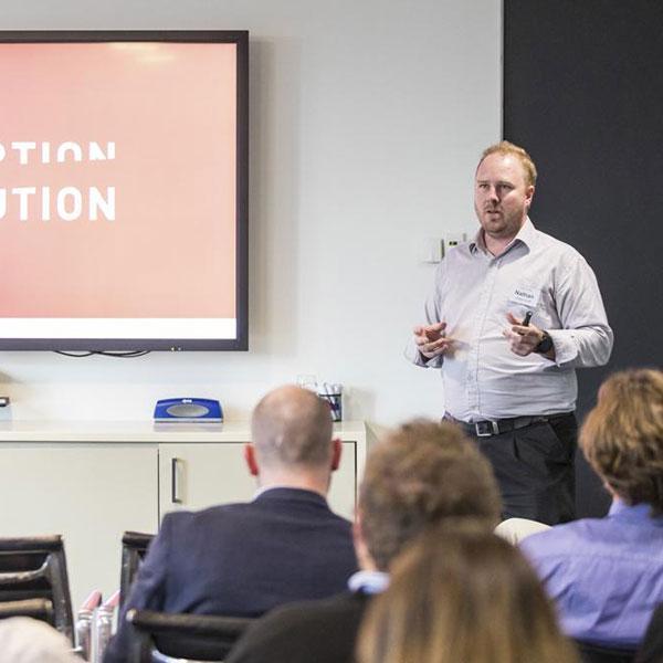 Nathan teaching a workshop on openBIM